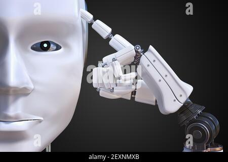 Artificial intelligence concept. Humanoid robot is thinking. 3D rendered illustration.