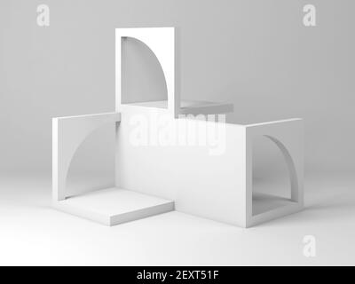 Abstract white architectural installation. Cube blocks construction with arches, 3d rendering illustration