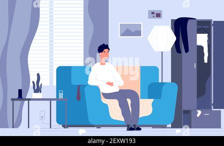 Apathetic man. Indifferent tired boy, male depression disorder. Exhausted unhappy guy on couch and mess in room. Depressed vector concept. Illustration male tired and relaxation, fatigue and man