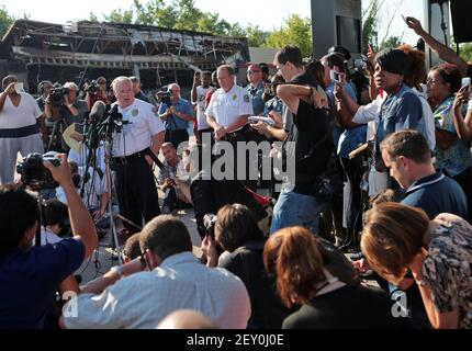Ferguson Police Chief Thomas Jackson ID's Ferguson police officer Darren Wilson as the shooter of Michael Brown to a crowd of reporters and citizens on Friday, Aug. 15, 2014, at the burned QuickTrip located on W. Florissant in Ferguson, Mo. (Photo by Laurie Skrivan/St. Louis Post-Dispatch/MCT/Sipa USA)