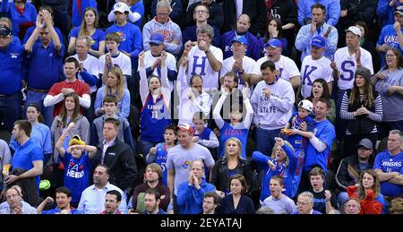 Kansas fans cheer as the team comes back near the end of the first half against Western Kentucky in the second round of the NCAA Tournament at the Sprint Center in Kansas City, Missouri, on Friday, March 22, 2013. (Photo by John Sleezer/Kansas City Star/MCT/Sipa USA)