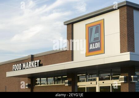 A Aldi discount grocery store location in Edgewood, Maryland on August 17, 2013. Photo Credit: Kristoffer Tripplaar/ Sipa USA