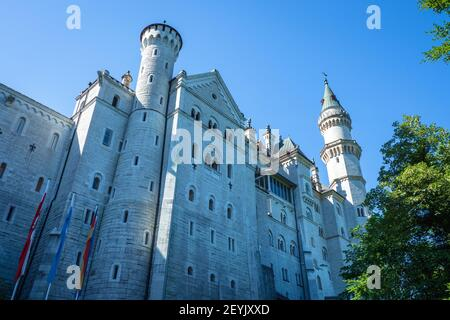 Low angle view of the famous 19th century romantic eclecticism palace Neuschwanstein Castle in Schwangau, Bavaria, Germany, Europe