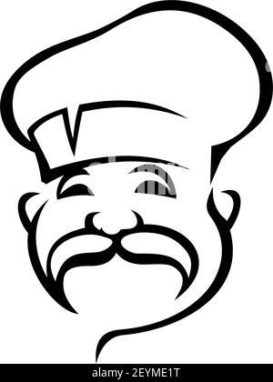 French, Italian chef black outline vector illustration. European cuisine logo design idea. Professional senior chef cook with mustache isolated contou