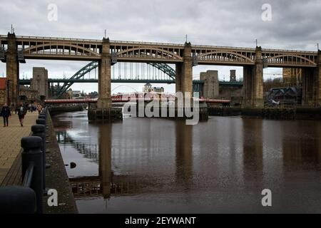 The High Level Bridge is a road and railway bridge spanning the River Tyne between Newcastle upon Tyne and Gateshead in North East England.