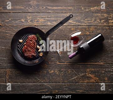 Marbled beef steak in a grill pan