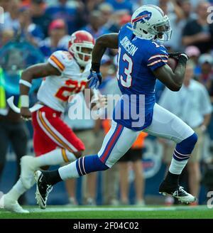 Buffalo Bills wide receiver Steve Johnson (13) broke free for a 49-yard touchdown reception in the third quarter, running past Kansas City Chiefs strong safety Eric Berry (29) on Sunday, September 16, 2012 at Ralph Wilson Stadium in Buffalo, New York. The Bills won 35-17. (Photo by David Eulitt/Kansas City Star/MCT/Sipa USA)