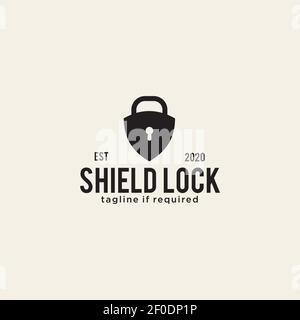Shield lock logo design icon template