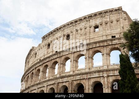 Close up view of Colosseum in Rome, Italy.