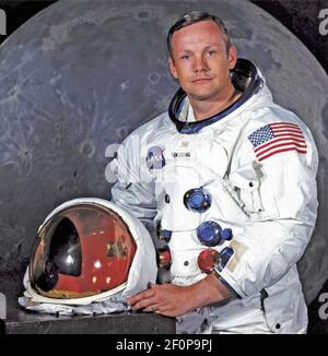 NEIL ARMSTRONG (1930-2012) American aeronautical engineer, test pilot and the first man to set foot on the moon 0n 20 July 1969. Official NASA photo taken in April 1969.