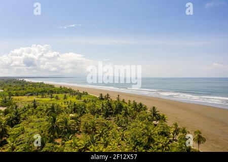 Landscape of beautiful exotic Tortuga beach and Terraba River in the southern Brunca region, Uvita, Costa Rica. Stock Photo