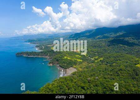 Landscape of a beautiful exotic Ventana beach located in the Costa Ballena, Uvita, South Pacific coast of Costa Rica. Stock Photo