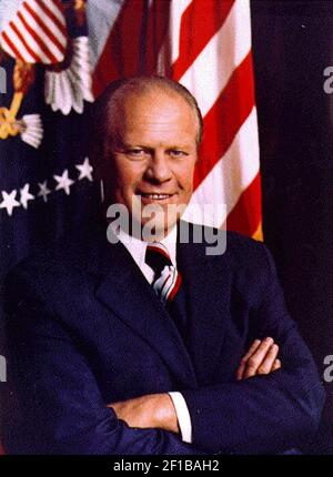 (KRT9) KRT US NEWS STORY SLUGGED: FORD KRT PHOTOGRAPH COURTESY OF THE FORD LIBRARY (August 2) Undated file photograph show's the first official White House portrait of President Gerald R. Ford. Former President Gerald Ford suffered a stroke while attending the Republican National Convention in Philadelphia, Pennsylvania but was described by doctors as 'doing well' Wednesday and thinking clearly. (Photo by KRT) AP PL BL KD 2000 (Vert.) (kn) (Additional photos available on KRT Direct, KRT/PressLink or upon request)