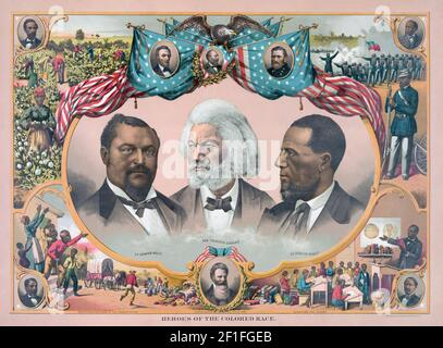 Heroes of the Colored Race.  Portraits of three prominent Afro-Americans.  From left to right: Blanche Kelso Bruce, 1841 - 1898, United States Senator; Frederick Douglass, 1818 - 1895, abolitionist and author; Hiram Rhodes Revels, 1827 - 1901, United States Senator.  After a print published in the early 1880's. Stock Photo
