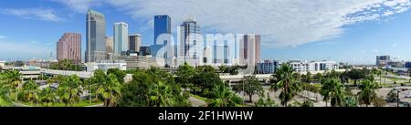Downtown City Skyline in a Long Panorama Tampa Florida Stock Photo