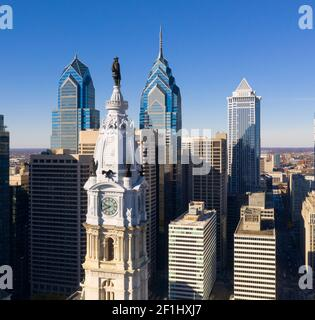 Urban Core City Center Tall Buildings Downtown Philadelphia Pennsylvania Stock Photo