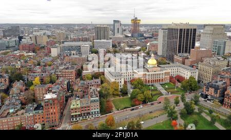 Aerial Front Entrance Massachusetts State House Capital Building Boston
