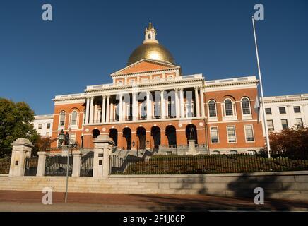 Front Bulfinch Entrance Massachusetts State House Capital Building Boston