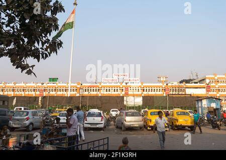Sealdah Railway station Building, one of India's one of the busiest railway stations terminal in India serving the city of Kolkata metropolitan region