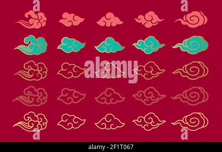 Asian cloud set vector illustration. Traditional oriental clouds  ornament and elements for decorative. Chinese,Japanese,Thai contemporary design. Var
