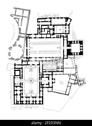 19th-century illustration of floor plan of Alhambra. Published in Systematischer Bilder-Atlas zum Conversations-Lexikon, Ikonographische Encyklopaedie