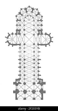 Antique 19th-century illustration of floor plan of Noyon Cathedral. Published in Systematischer Bilder-Atlas zum Conversations-Lexikon, Ikonographisch