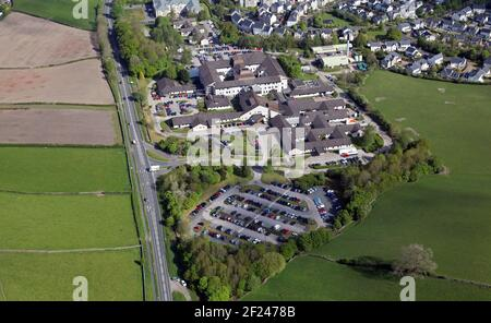 aerial view (from the south) of Westmorland General Hospital, Kendal, Cumbria - Stock Photo