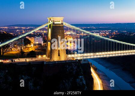 Dusk falling over the Clifton Suspension Bridge, Bristol UK - designed by Isambard Kingdom Brunel and completed in 1864. - Stock Photo