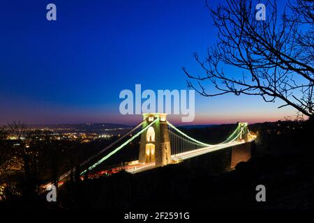 Dusk falling over the Clifton Suspension Bridge, Bristol - designed by Isambard Kingdom Brunel and completed in 1864. - Stock Photo