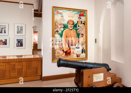 Muscat, Oman - February 10, 2020: Portrait of his Majesty Sultan Qaboos inside of the Bait Al Zubair Museum in old Muscat od Sultanate of Oman