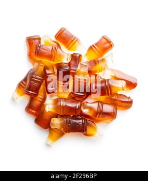 Jelly candies with cola flavor isolated on white background.