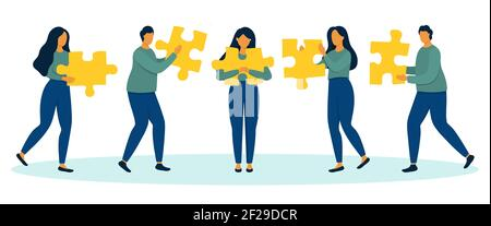 Group of people with jigsaw puzzles in hands. Team building and partnership concept. Flat style vector illustration.