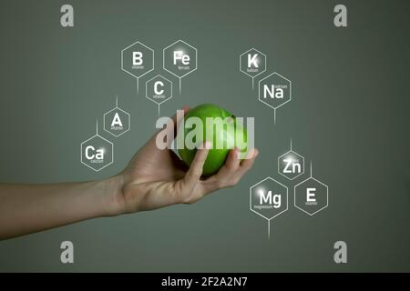 Woman`s hand holding green apple, microelement icons in molecular hexagons on grey background. Healthy food and lifestyle concept template for product