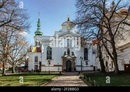 Prague,Czech Republic-March 6,2021. View of Strahov Monastery with church of the Assumption of the Blessed Virgin Mary.The oldest Premonstratensian Stock Photo