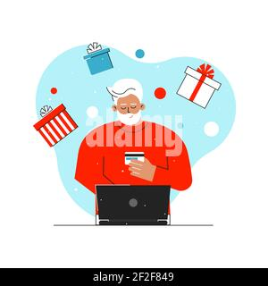 Vector isolated concept with Caucasian senior man. Online shopping with big sales before Christmas time. Old man orders gifts on Internet using laptop