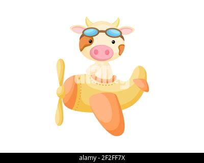 Little cow wearing aviator goggles flying an airplane. Funny baby character flying on plane for greeting card, baby shower, birthday invitation, house Stock Photo