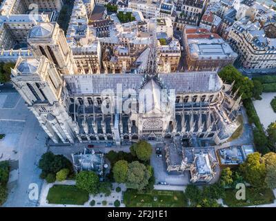 Aerial Notre Dame (Our Lady of Paris Cathedral), Paris, France