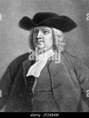 William Penn. Portrait of the Quaker writer and founder of the colony of Pennsylvania, William Penn (1644-1718) engraving by James Posselwhite, 19th century - Stock Photo