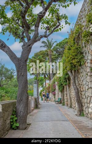Tourist couple walking on the beautiful narrow path with tropical plants and red flowers, Tyrrhenian sea, Capri island, Italy