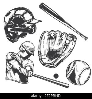 Set of baseball equipment (bat, ball, glove, helmet) and a player for creating your own badges, logos, labels, posters etc. Isolated on white. - Stock Photo