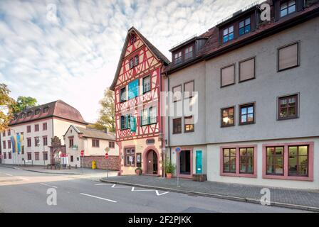 Town hall, glass museum, house facade, half-timbered, culture, history, Wertheim, Baden-Wuerttemberg, Germany, Europe Stock Photo