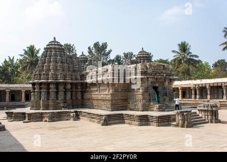 Keshava temple in the heart of Somanathapur close to Mysore is significant for its stone carvings Stock Photo