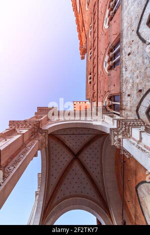 Main entrance to the Palazzo Pubblico in Siena. Tuscany, Italy