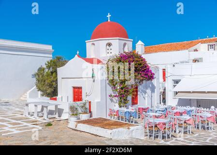 a restaurant at the old town of Mykonos, Greece