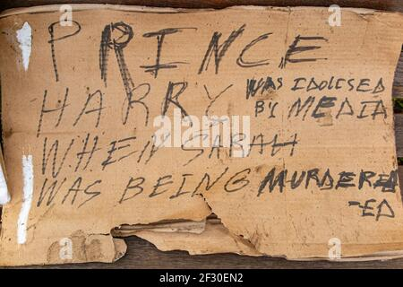 14th March 2021 - a placard about Prince Harry references Sarah Everard on Clapham Common, the day after the cancelled vigil