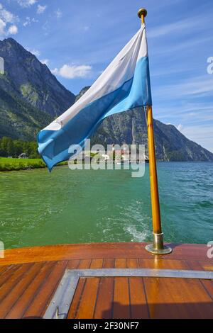 Boat trip on the Koenigssee with a view of the famous pilgrimage church St. Bartholomew and the Bava