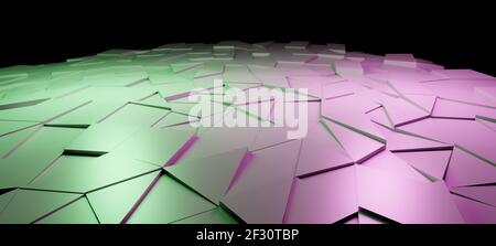 3D illustration of shiny shattered, split or cracked metallic polygonal triangles or tiles, abstract background surface