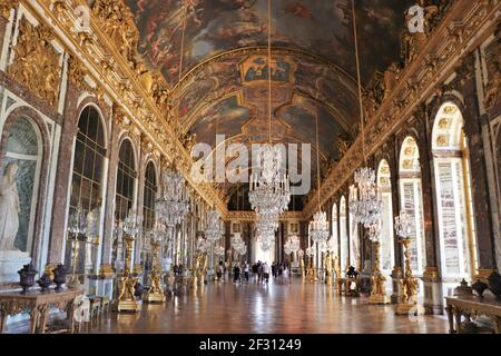 The Dazzling Hall of Mirrors in the Palace of Versailles, France