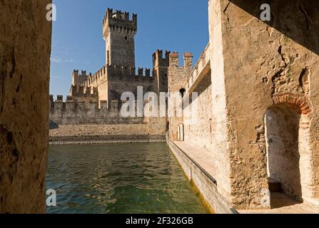 Italy,Sirmione, Lake Garda, the Rocca Scaligera castle built in the 13th century