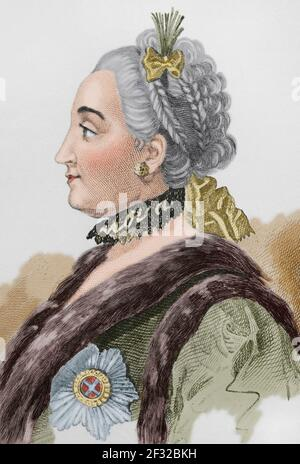 Catherine the Great or Catherine II (1729-1796). Empress of Rusia from 1762 to 1796. Portrait. Engraving by Lemaitre, Vernier and Lesueur. History of Russia by Jean Marie Chopin (1796-1870). Panorama Universal, Spanish edition, 1839. Later colouration. - Stock Photo